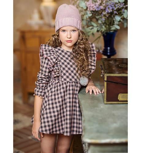 Vestido niña a cuadros rosa y gris de Yoedu | Aiana Larocca