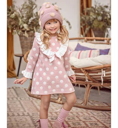 Vestido rosa empolvado topos crudo de Marta y Paula | Aiana Larocca