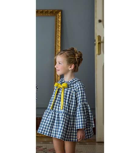 Vestido vichy azul lazo mostaza de Rochy | Aiana Larocca