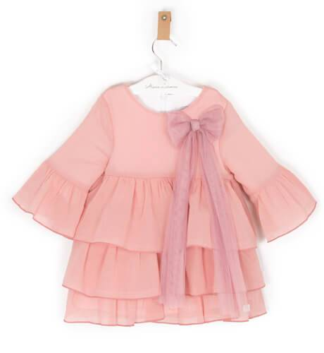 Vestido niña rosa volantes y lazada de Eve Children | Aiana Larocca