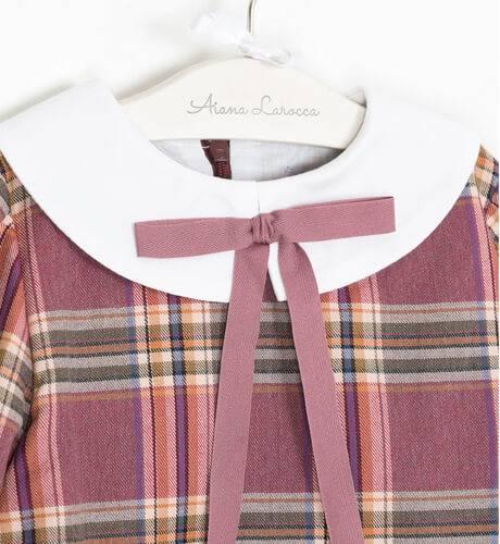 Vestido niña a cuadros rosa-malva cuello y puños blanco de Eve Children | Aiana Larocca