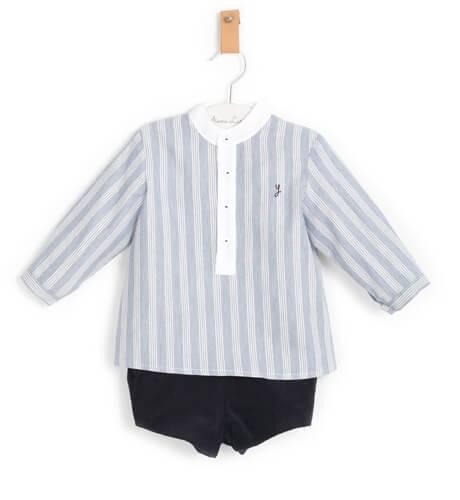 Conjunto niño camisa a rayas azul de Yoedu | Aiana Larocca