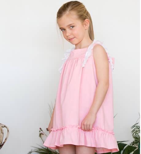 Vestido niña rosa puntilla de Baby Yiro | Aiana Larocca