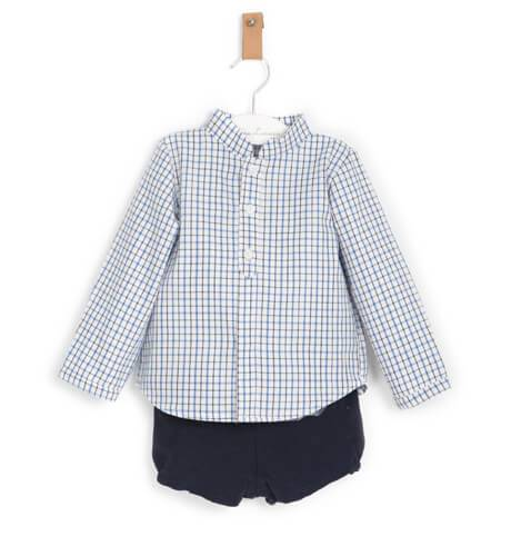 Conjunto niño camisa a cuadros azul de Valentina Bebés | Aiana Larocca