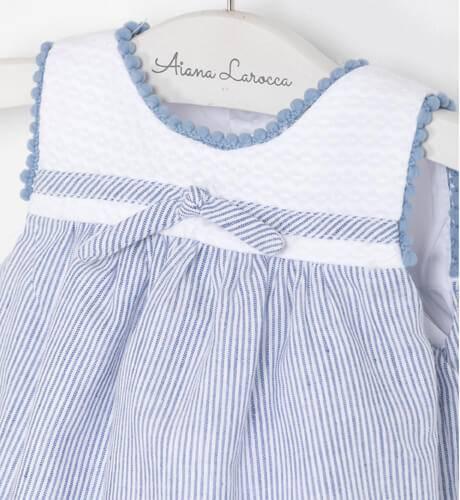 Ranita bombacho bebe a rayas finas azul y blanco de Marta y Paula | Aiana Larocca