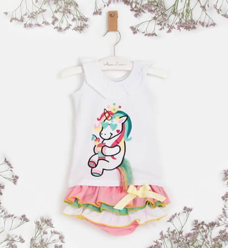 Conjunto bebe niña camiseta unicorns y braguita de La Amapola Diverdress | Aiana Larocca