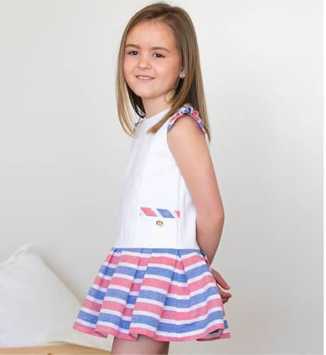 -NUEVO- Vestido niña talle bajo a rayas de Marta y Paula | Aiana Larocca