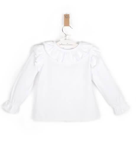 Blusa niña punto camiseta con volantes de Baby Yiro | Aiana Larocca