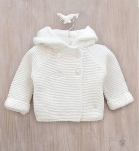 Trenca bebé punto crudo con capucha de Micolino | Aiana Larocca