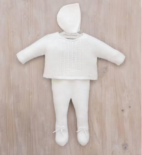 Conjunto bebe jersey y polaina crudo de Micolino | Aiana Larocca