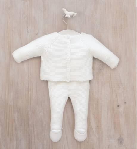 Conjunto bebe jersey y polaina crudo de Micolino   Aiana Larocca