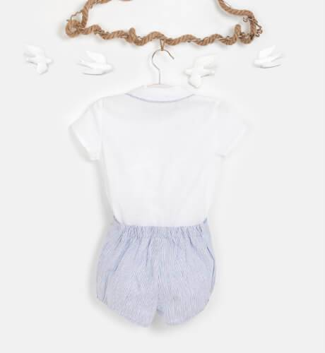 Conjunto niño pantalón a rayas finas azul y blanco de Marta y Paula | Aiana Larocca