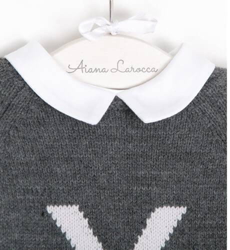 Conjunto bombacho pompón camisa y jersey gris   Aiana Larocca