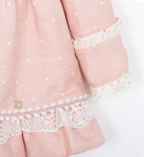 Vestido niña rosa con topitos y falda vuelo de Dolce Petit | Aiana Larocca