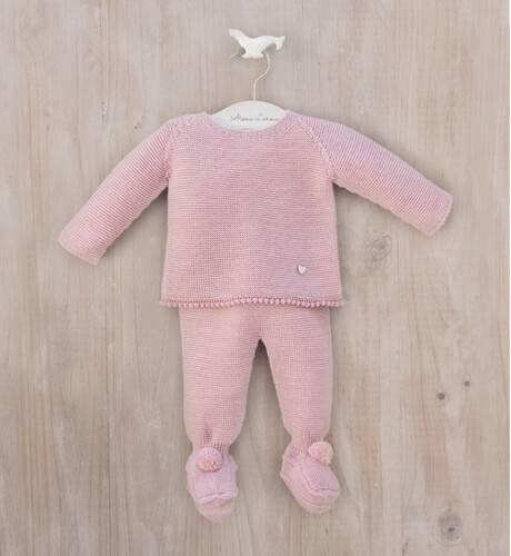 Conjunto pelele rosa con borlitas de Punto Solita | Aiana Larocca