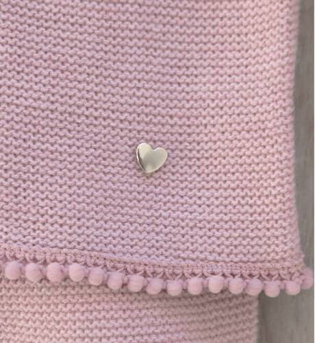 Conjunto pelele rosa con borlitas de Punto Solita   Aiana Larocca