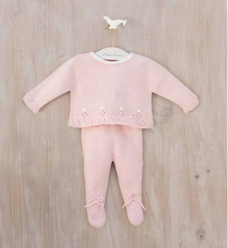 Conjunto bebe jersey y polaina rosa de Micolino | Aiana Larocca