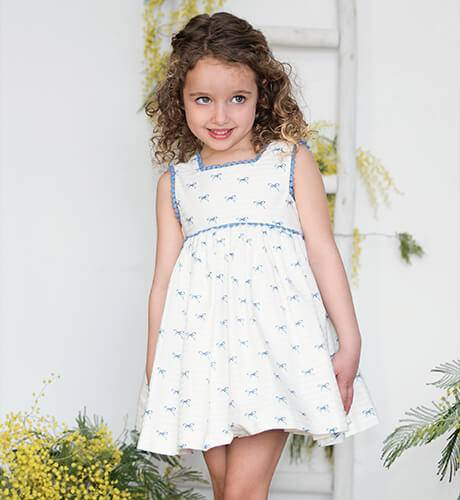 Vestido estampado lacitos azul de Martín Aranda | Aiana Larocca
