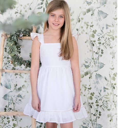 -NUEVO- Vestido niña plumeti detalle dorado | Aiana Larocca