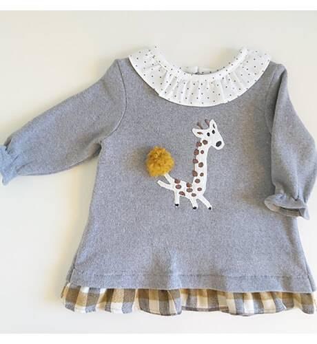 Vestido punto gris jirafa de Coco Acqua   Aiana Larocca