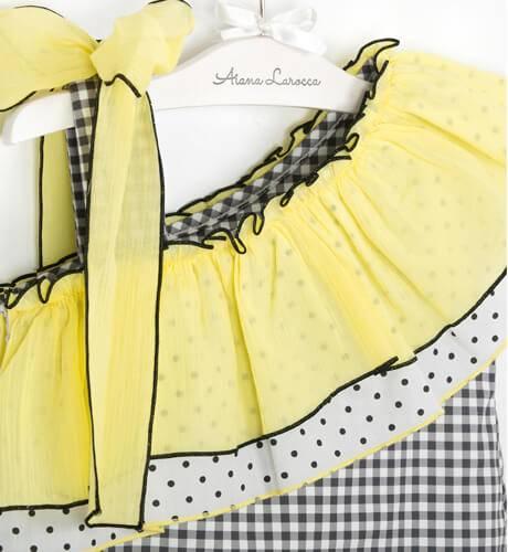 Vestido asimético vichy negro con amarillo de Rochy | Aiana Larocca