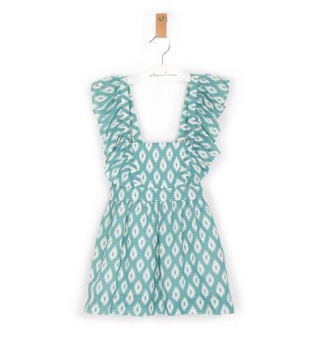 Vestido niña estampado geométrico turquesa de Ancar | Aiana Larocca