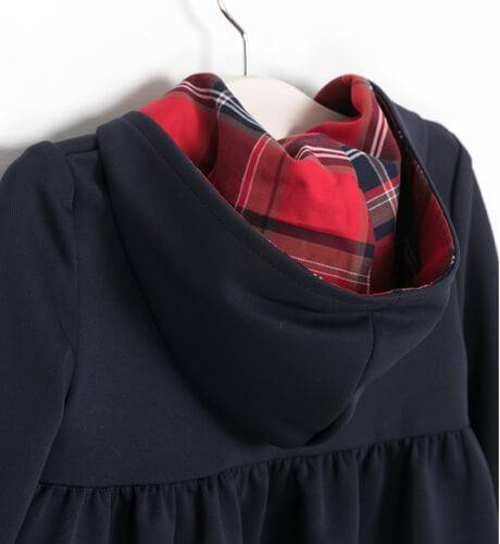 Vestido marino capucha escocés de Eve Children | Aiana Larocca