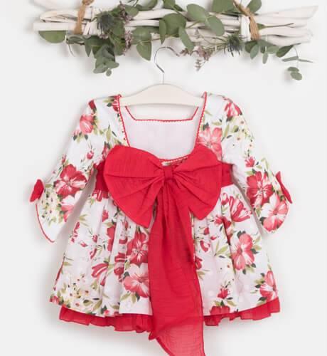 Vestido estampado floral rojo & escote DBB Collection | Aiana Larocca