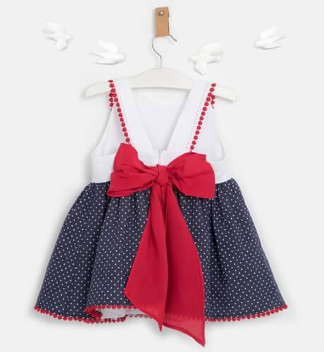 Vestido niña marino estrellitas & lazada roja de Marta y Paula | Aiana Larocca