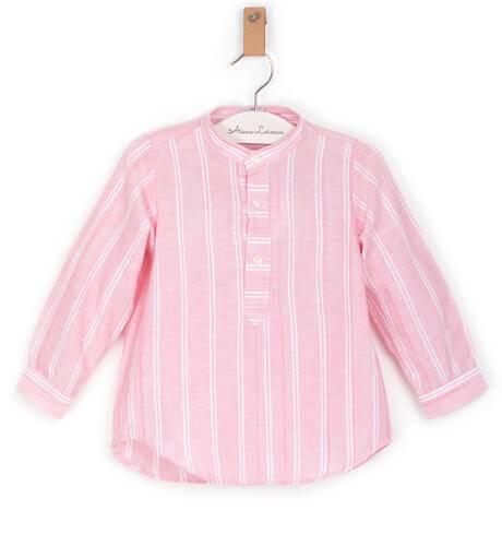 Camisa niño a rayas rosa y blanco de Ancar | Aiana Larocca