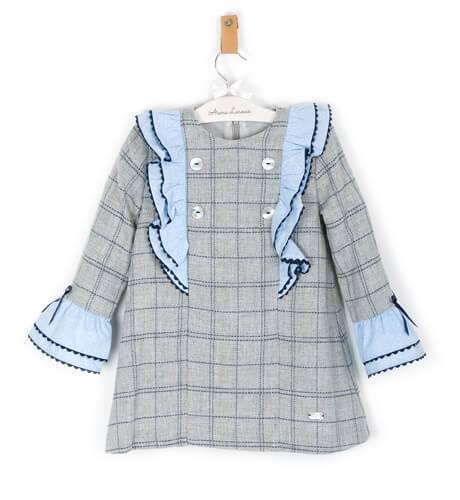 Vestido niña a cuadros gris volantes azul | Aiana Larocca
