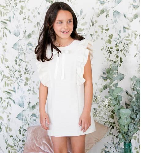 -NUEVO- Vestido niña ceremonia volantes dorado Eve Children | Aiana Larocca