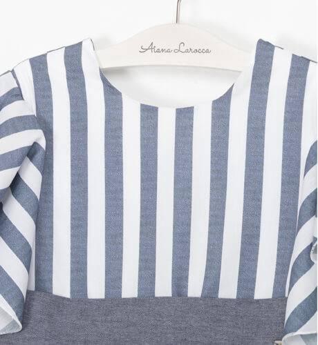 Vestido niña a rayas azul y blanco con fajín de Nekenia | Aiana Larocca