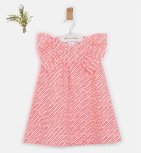 Vestido niña topitos coral & volantes hombros de Coco Acqua | Aiana Larocca