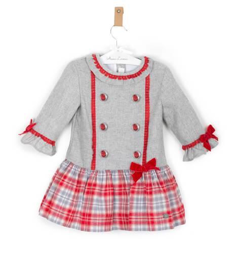 Vestido niña combinado cuadros gris y rojo de Dolce Petit | Aiana Larocca