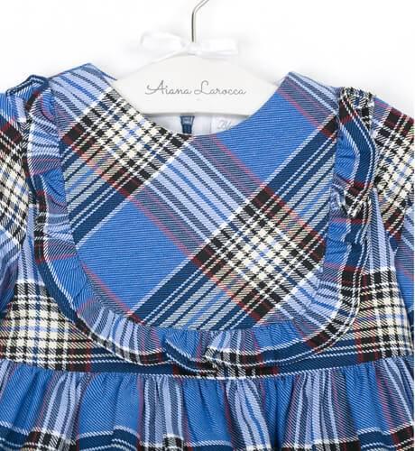 Vestido talle alto a cuadros azul de Blanca Valiente | Aiana Larocca