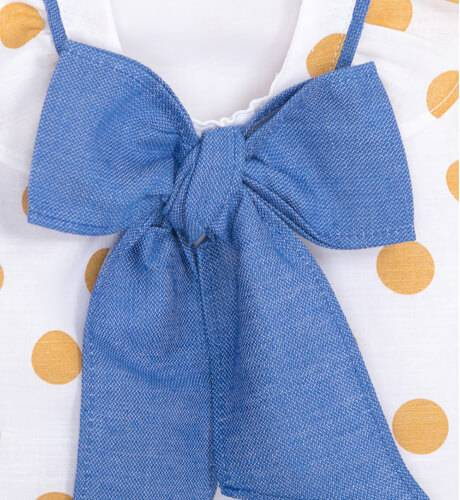 Vestido lunares mostaza lazo azul francia de Coco Acqua   Aiana Larocca
