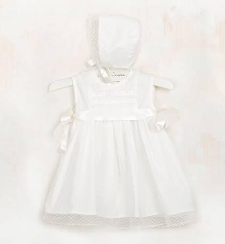 Vestido bautizo con tul y lazos raso | Aiana Larocca