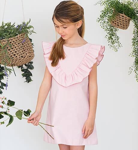 45a0ddb4c Vestido rosa a rayas finas escote y lazada espalda