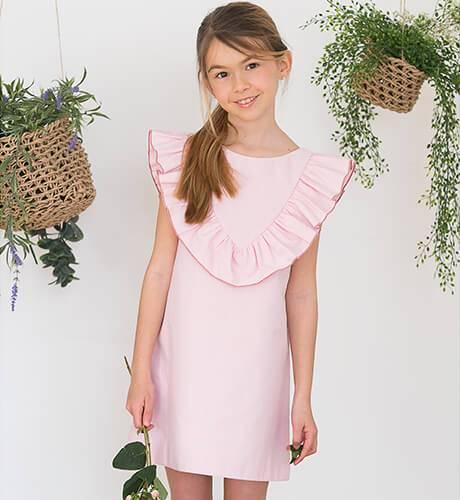 Vestido rosa a rayas finas escote y lazada espalda | Aiana Larocca