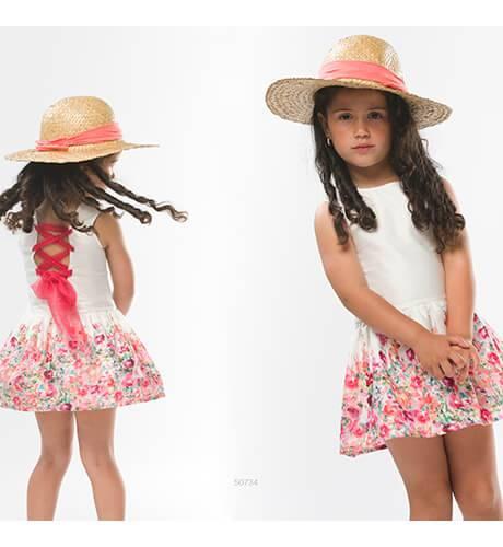 Vestido niña blanco falda flores espalda cruzada tul de Coco Acqua   Aiana Larocca