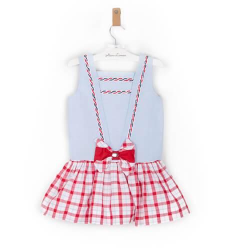 -NUEVO- Vestido niña marinero talle bajo falda cuadros Dolce Petit | Aiana Larocca