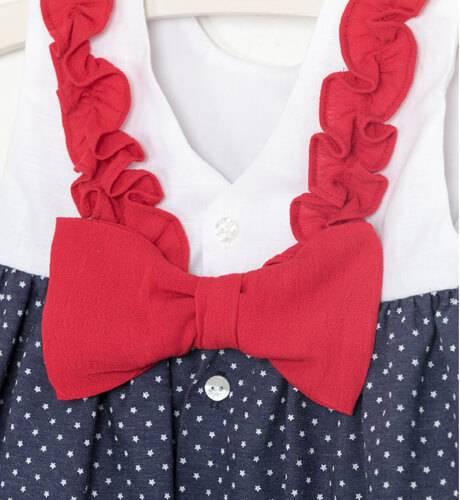 Vestido bebe marinero cuerpo blanco & falda marino estrellitas de Marta y Paula | Aiana Larocca