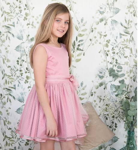 -NUEVO- Vestido niña rosa con tul plumeti de Nekenia | Aiana Larocca