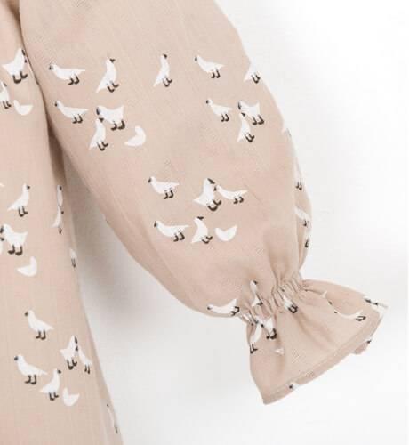 Vestido talle alto estampado palomas de Ancar | Aiana Larocca