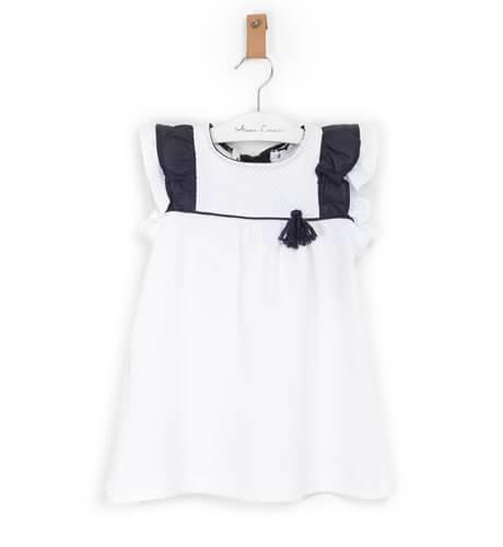 Vestido blanco volantitos y lazo marino de Coco Acqua   Aiana Larocca
