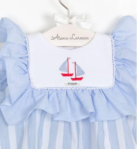 Vestido bebé marinero a rayas azul de Foque | Aiana Larocca