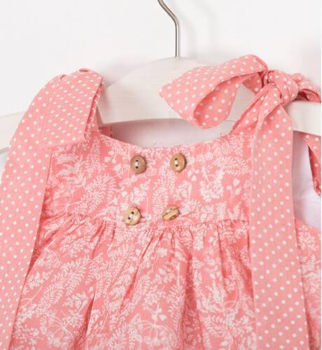 Vestido estampado rosa & lazadas de Valentina Bebés | Aiana Larocca