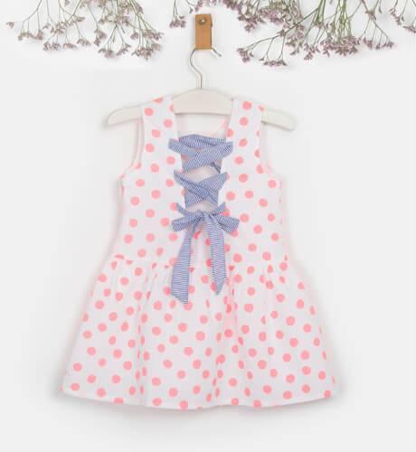Vestido niña topos rosa & espalda cruzada de Coco Acqua | Aiana Larocca