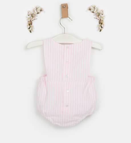 Peto ranita bebé a rayas rosa & gorrito | Aiana Larocca